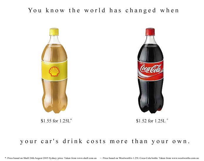 Carburant plus cher que le coca